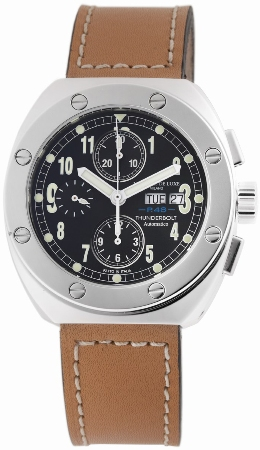Montres De Luxe Mens TH7001 Thunderbolt Black Dial Chronograph Watch