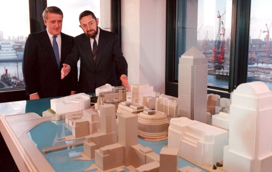 Paul Reichmann Showing Former Canadian Prime Minister Brian Mulroney a Model of Canary Wharf in London