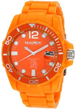 Haurex Mens O7354UOO CAIMANO Rotating Bezel Orange Dial Plastic Sport Watch