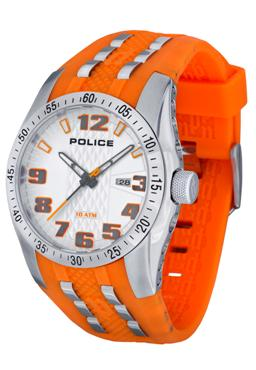 POLICE PL-12557JS/04 Topgear Pearl Silver Dial Watch Orange Accents