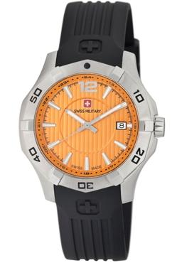 Swiss Military Calibre Mens 06-4I1-04-079 Immersion Orange Dial Black Rubber Watch