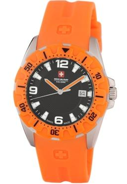 Swiss Military Calibre Mens 06-4M1-04-007.79 Marine Textured Black Dial Orange Rubber Date Watch