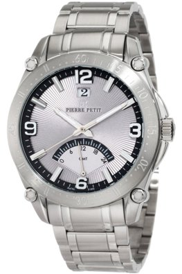 Pierre Petit Mens P-806C Serie Le Mans Stainless-Steel Dual-Time GMT Sunray Dial Watch
