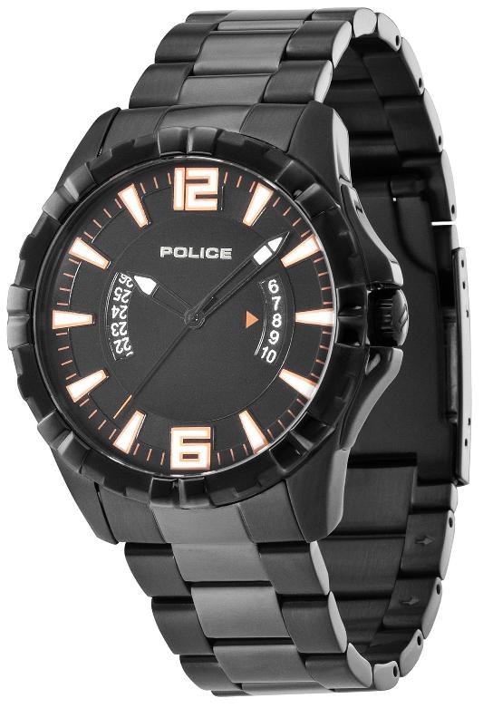 POLICE Mens PL.12889JSB/02M Profile Collection Orange Accents Black Dial Watch