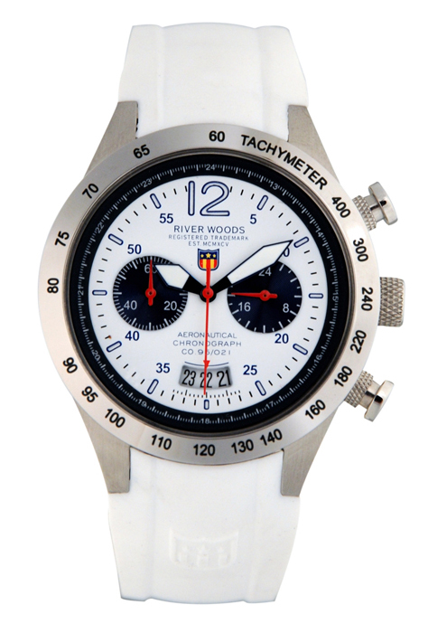River Woods Ladies RWC 1 L WD SCW White Dial Chronograph