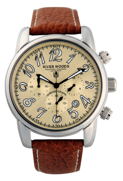 River Woods Mens RWC 2 MBED LBR Gold Dial Chronograph