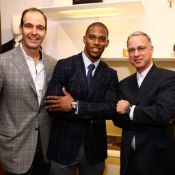 Vincent Ottomanelli, President, Ferragamo USA, New York Giants Wide Receiver Victor Cruz and Paul Ziff Attend the Ferragamo and GQ Event to Support MSKCC