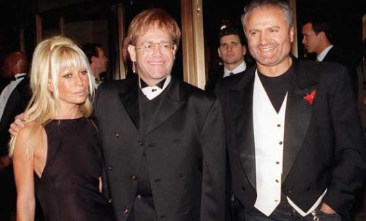 Gianni and Donatella Versace With Elton John