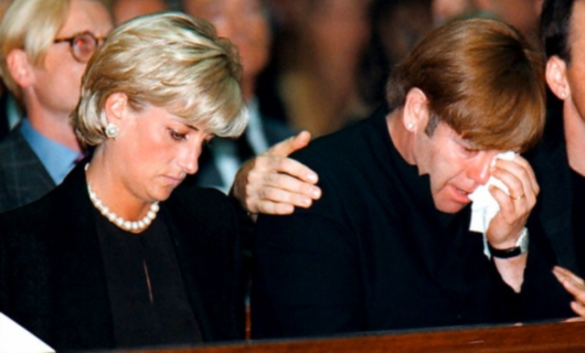 Princess Diana and Elton John By Gianni's Funeral