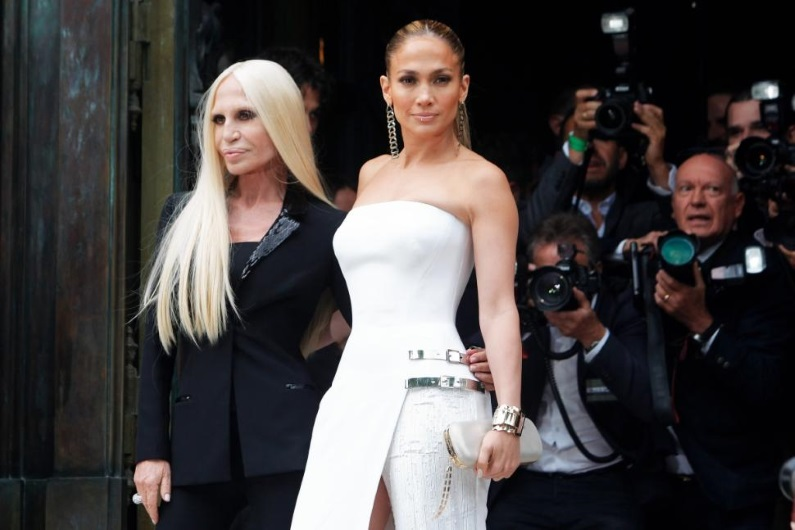 Donatella Versace and Jennifer Lopez Before Paris Haute Couture Show