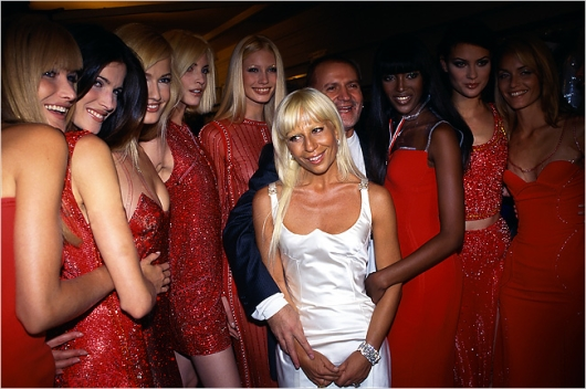 Donatella and Gianni Versace with Versace's Supermodels