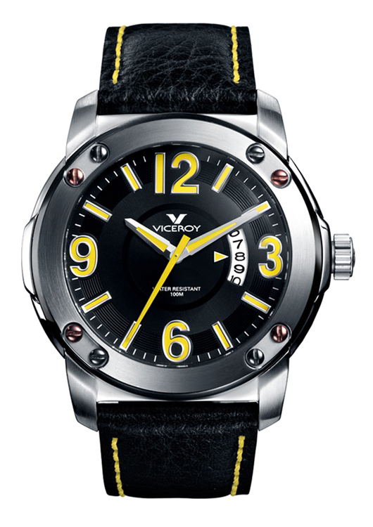 Viceroy Mens 46503-25 IP Black Stainless Steel Bezel Yellow Accented Watch
